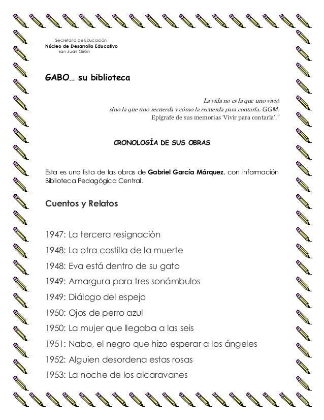 Secretaría de Educación Núcleo de Desarrollo Educativo san Juan Girón GABO… su biblioteca La vida no es la que uno vivió s...