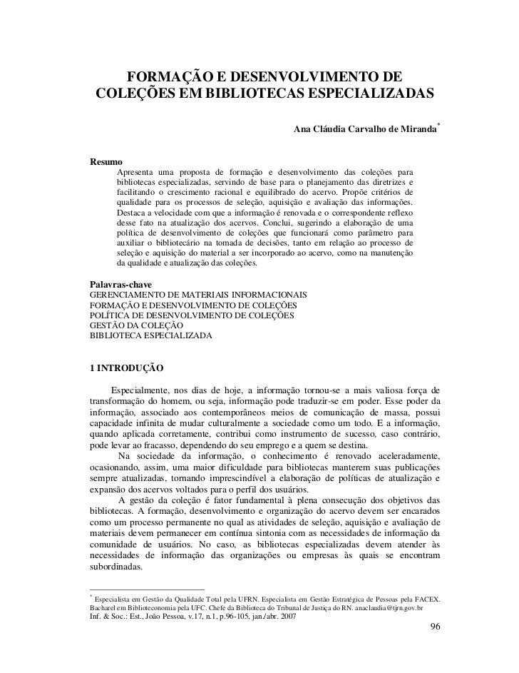 FORMAÇÃO E DESENVOLVIMENTO DE    COLEÇÕES EM BIBLIOTECAS ESPECIALIZADAS                                                   ...