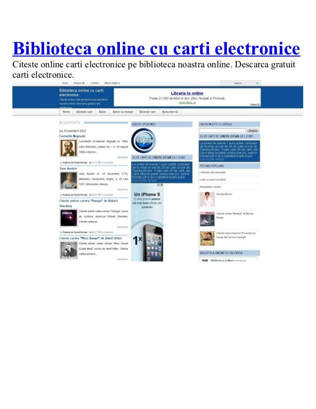 Biblioteca online cu carti electroniceCiteste online carti electronice pe biblioteca noastra online. Descarca gratuitcarti...