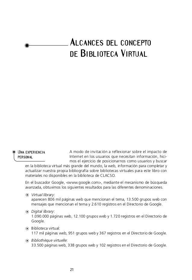 ALCANCES DEL CONCEPTO DE BIBLIOTECA VIRTUAL  UNA EXPERIENCIA  A modo de invitación a reflexionar sobre el impacto de Inter...