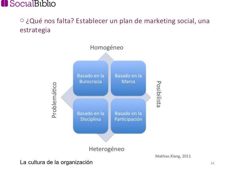 <ul><li>¿Qué nos falta? Establecer un plan de marketing social, una estrategia </li></ul>La cultura de la organización
