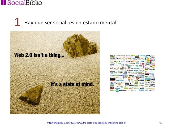 Hay que ser social: es un estado mental 1 http://energise2-0.com/2012/01/09/the-state-of-social-media-marketing-part-2/