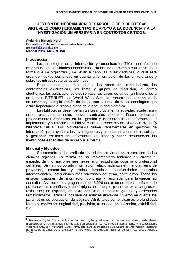 II COLOQUIO INTERNACIONAL DE GESTIÓN UNIVERSITARIA EN AMÉRICA DEL SUR.        GESTIÓN DE INFORMACION, DESARROLLO DE BIBLIO...