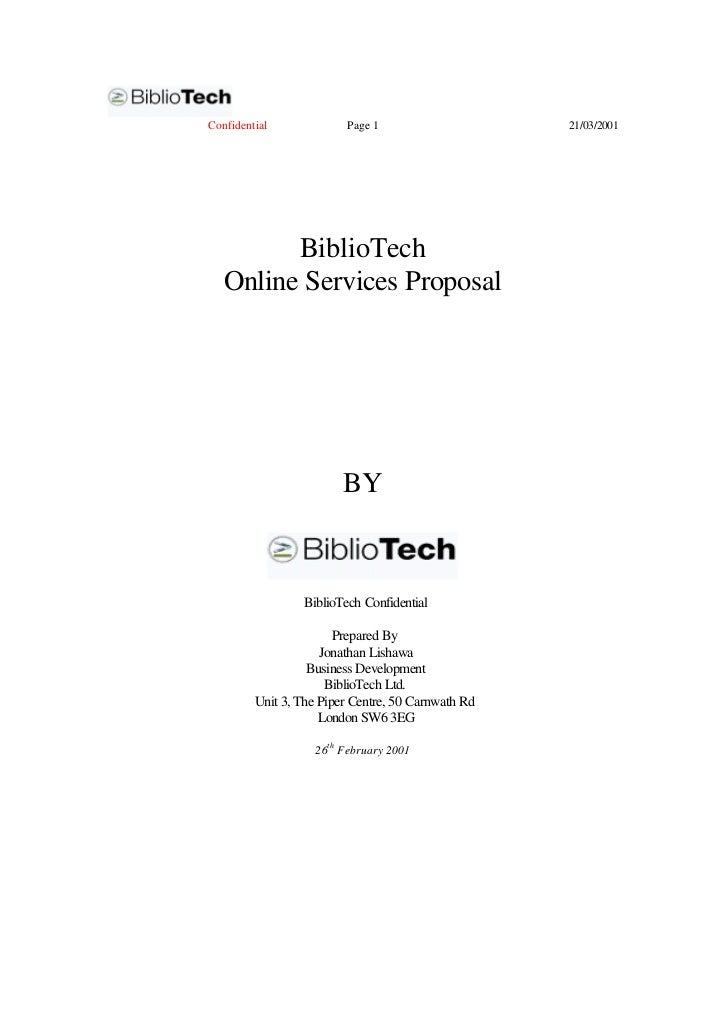 Confidential             Page 1                     21/03/2001         BiblioTech   Online Services Proposal              ...
