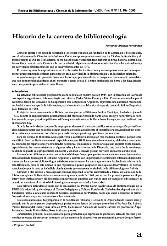 Revista De Bibliotecologîa y Ciencias de la Informacîòn - UMSA - V01. 8 N° 13. Dic.  2003  Historia de la carrera de bibli...
