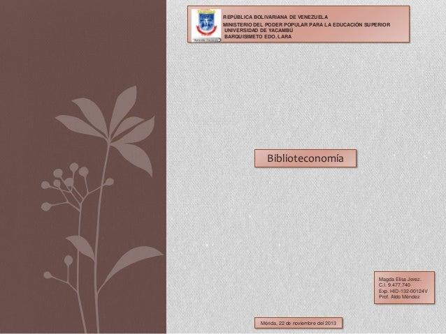 REPÚBLICA BOLIVARIANA DE VENEZUELA MINISTERIO DEL PODER POPULAR PARA LA EDUCACIÓN SUPERIOR UNIVERSIDAD DE YACAMBÚ BARQUISI...