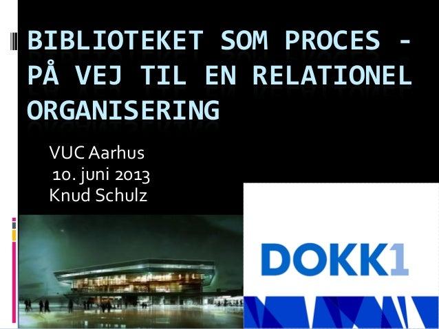 BIBLIOTEKET SOM PROCES -PÅ VEJ TIL EN RELATIONELORGANISERINGVUC Aarhus10. juni 2013Knud Schulz