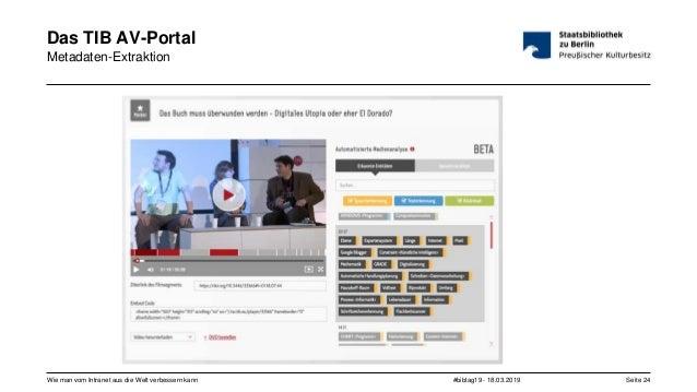 #bibtag19 - 18.03.2019Wie man vom Intranet aus die Welt verbessern kann Seite 24 Das TIB AV-Portal Metadaten-Extraktion