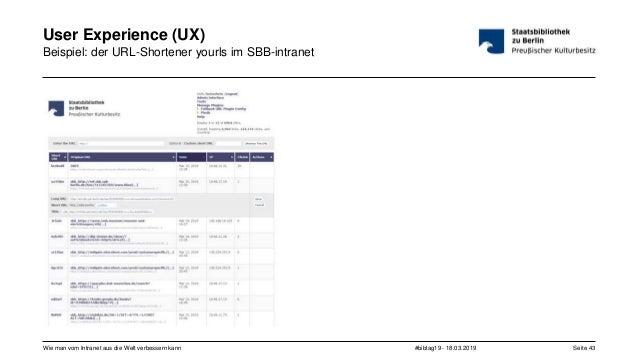 #bibtag19 - 18.03.2019Wie man vom Intranet aus die Welt verbessern kann Seite 43 User Experience (UX) Beispiel: der URL-Sh...