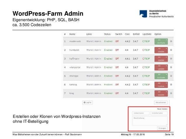 #bibtag16 - 17.03.2016Was Bibliotheken von der Zukunft lernen können – Ralf Stockmann Seite 19 WordPress-Farm Admin Eigene...