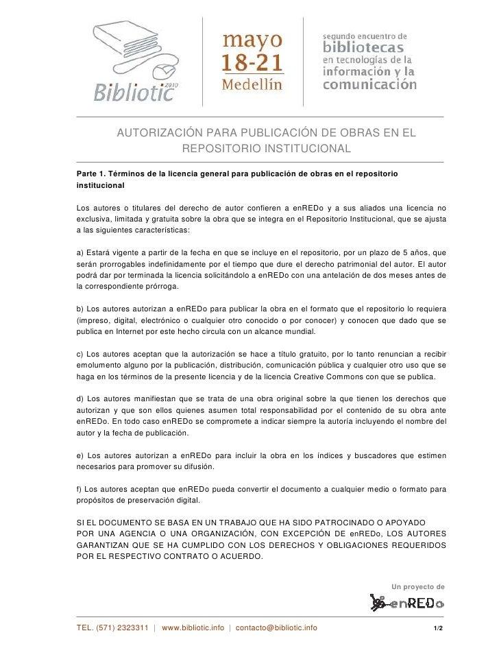 AUTORIZACIÓN PARA PUBLICACIÓN DE OBRAS EN EL                     REPOSITORIO INSTITUCIONAL  Parte 1. Términos de la licenc...