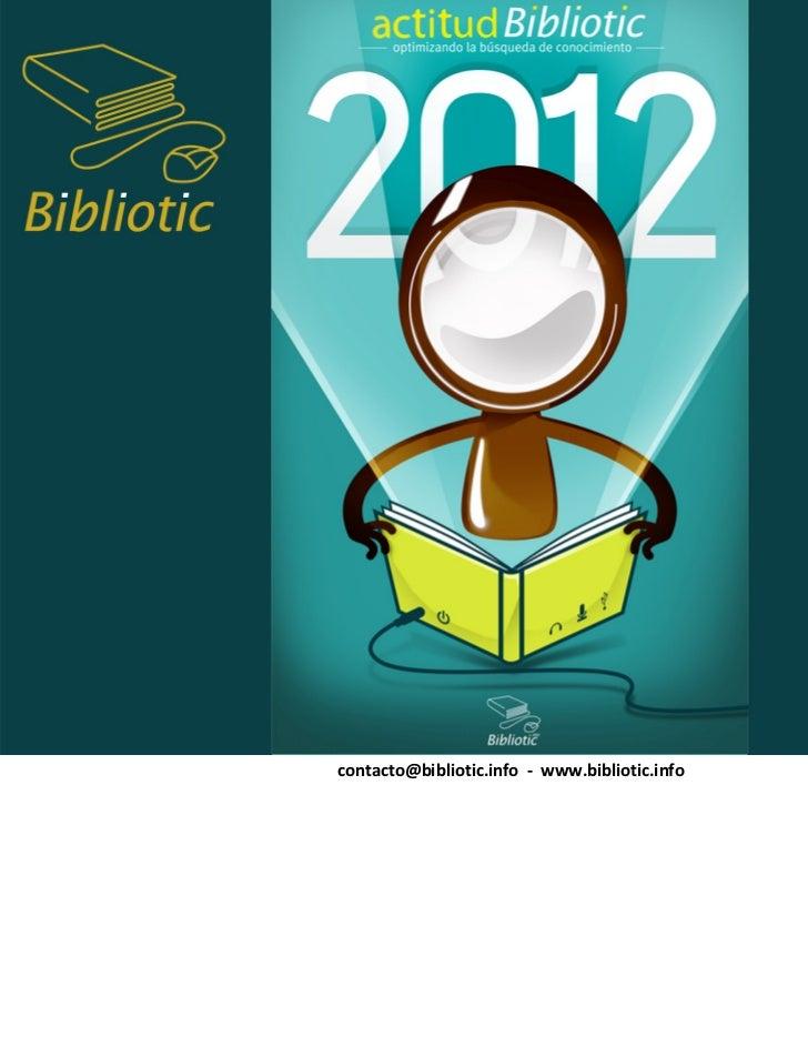 contacto@bibliotic.info ‐ www.bibliotic.info