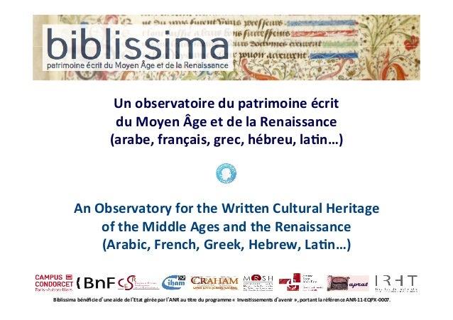 Un  observatoire  du  patrimoine  écrit du  Moyen  Âge  et  de  la  Renaissance (arabe,  français, ...
