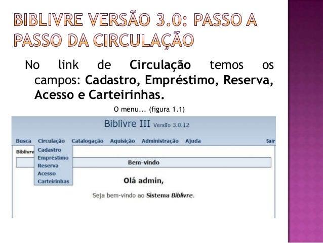 No link de Circulação temos os campos: Cadastro, Empréstimo, Reserva, Acesso e Carteirinhas.             O menu... (figura...