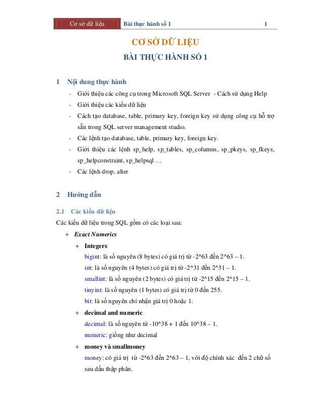 Cơ sở dữ liệu Bài thực hành số 1 1 CƠ SỞ DỮ LIỆU BÀI THỰC HÀNH SỐ 1 1 Nội dung thực hành - Giới thiệu các công cụ trong Mi...