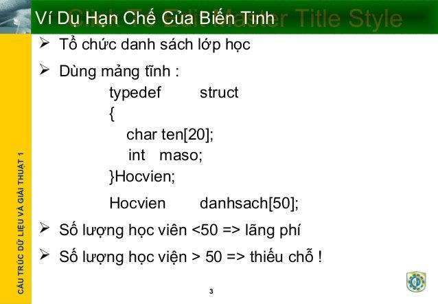 Cấu trúc dữ liệu động  Slide 3