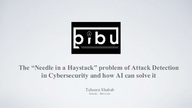 "The ""Needle in a Haystack"" problem of Attack Detection in Cybersecurity and how AI can solve it Tahseen Shabab Founder – B..."