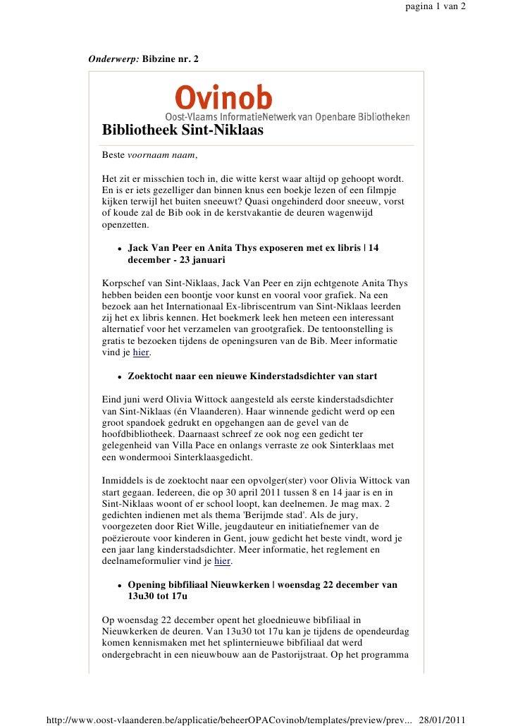 pagina 1 van 2         Onderwerp: Bibzine nr. 2            Bibliotheek Sint-Niklaas            Beste voornaam naam,       ...