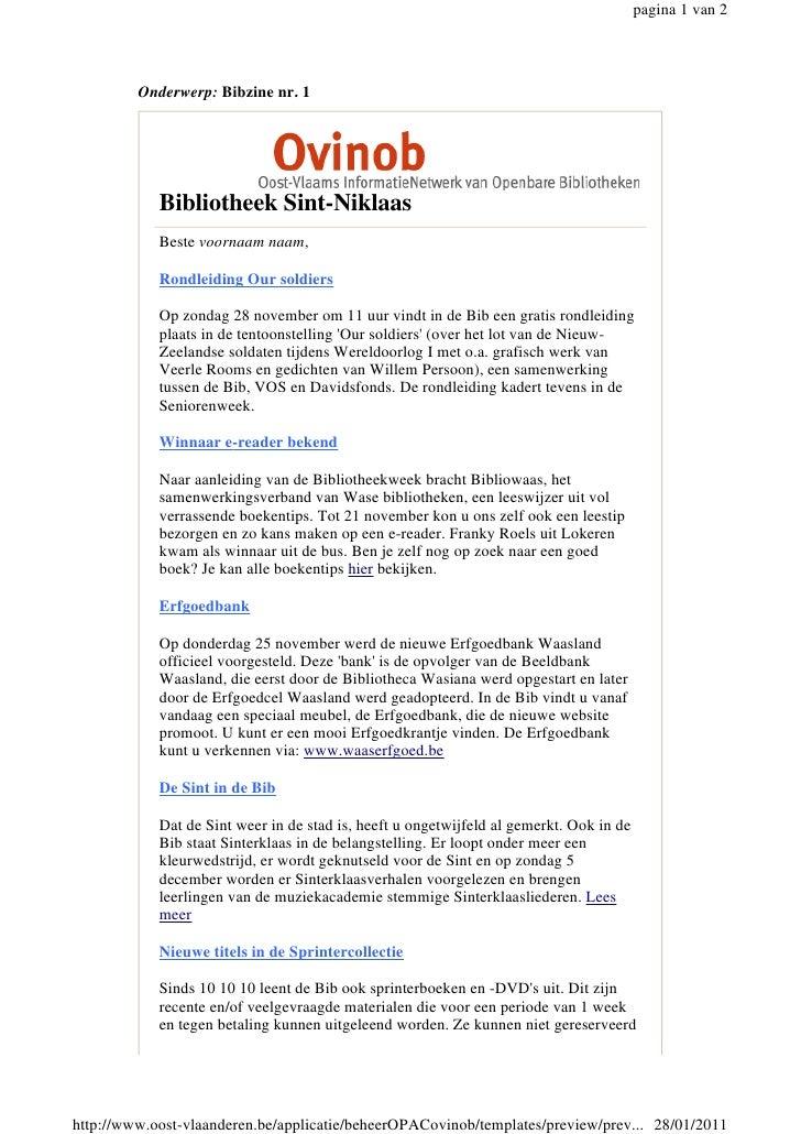 pagina 1 van 2         Onderwerp: Bibzine nr. 1            Bibliotheek Sint-Niklaas            Beste voornaam naam,       ...