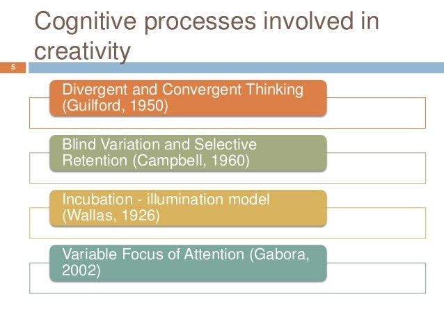 the cognitive processes of creativity by This article formally investigates into the cognitive process of creation and  creativity as one of the most fantastic life functions the cognitive foundations of.