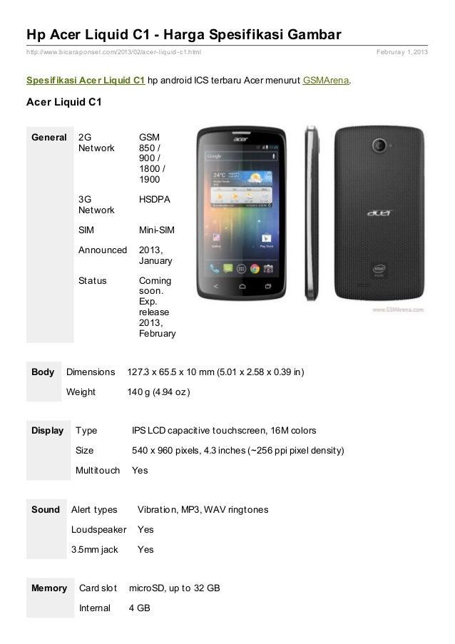 Spesifikasi Acer Liquid C1