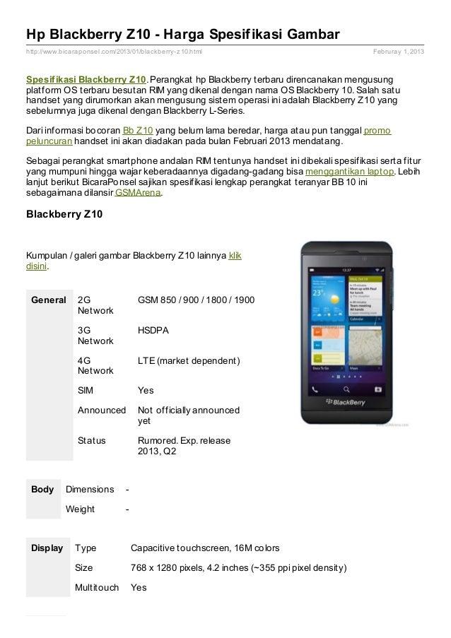 Spesifikasi Z10 Spesifikasi Blackberry Z10