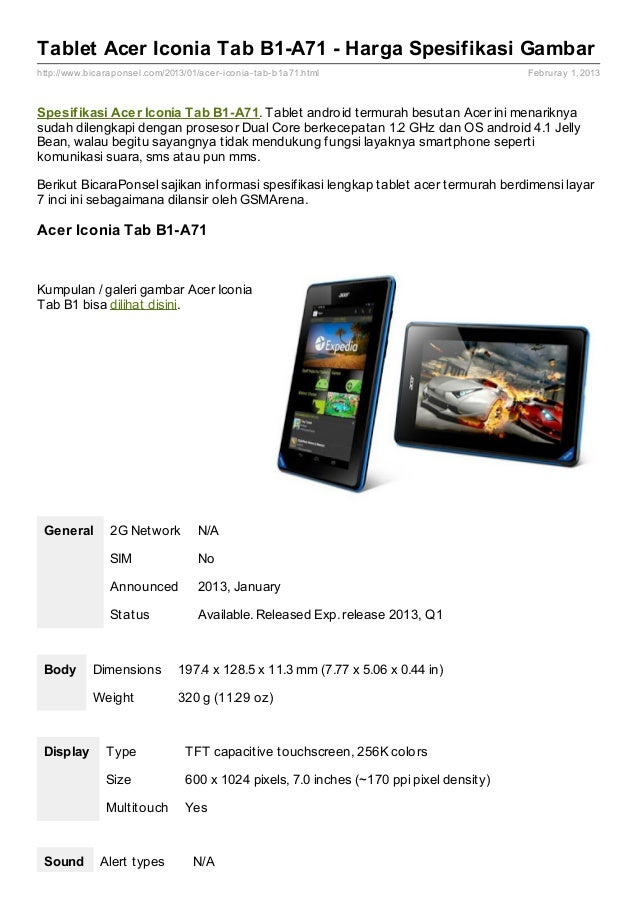 Tablet Acer Iconia Tab B1-A71 - Harga Spesifikasi Gambarhttp://www.bicaraponsel.com/2013/01/acer- iconia- tab- b1a71.html ...