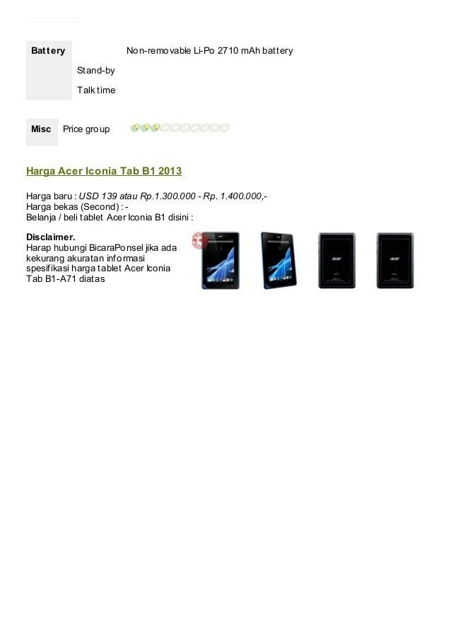 Spesifikasi Tablet Acer Iconia Tab B1 A71