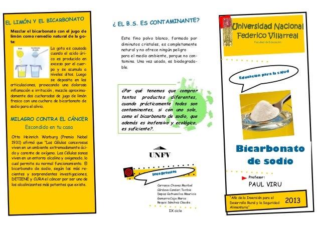 EL LIMÓN Y EL BICARBONATOMezclar el bicarbonato con el jugo delimón como remedio natural de la go-ta:La gota es causadacua...