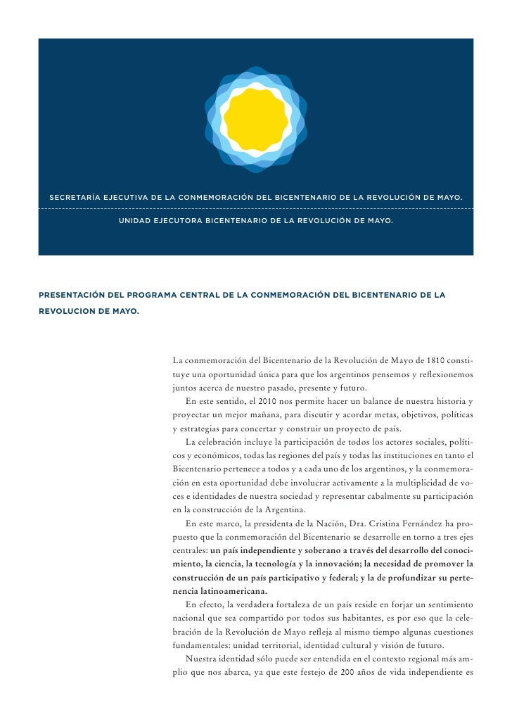 SECRETARÍA EJECUTIVA DE LA CONMEMORACIÓN DEL BICENTENARIO DE LA REVOLUCIÓN DE MAYO. --------------------------------------...