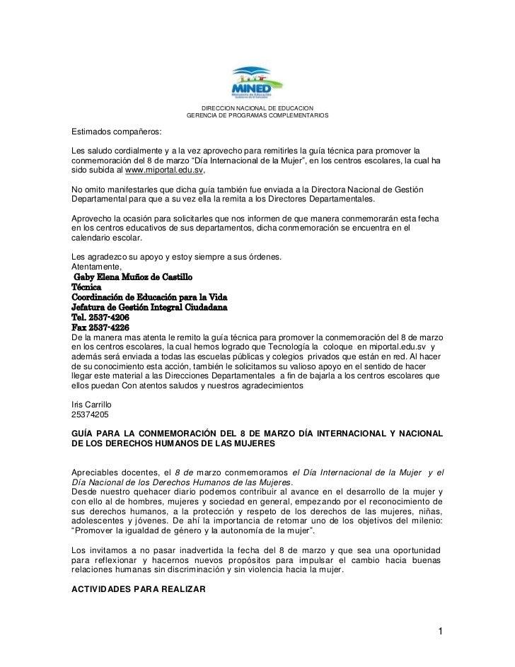 DIRECCION NACIONAL DE EDUCACION<br />GERENCIA DE PROGRAMAS COMPLEMENTARIOS<br />Estimados compañeros:<br />Les saludo cord...
