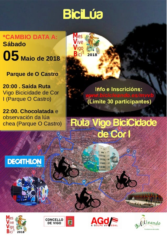 BiciL�aBiciL�a Ruta Vigo BiciCidade de Cor I *CAMBIO DATA A: S�bado 05Maio de 2018 Parque de O Castro 20:00 . Sa�da Ruta V...
