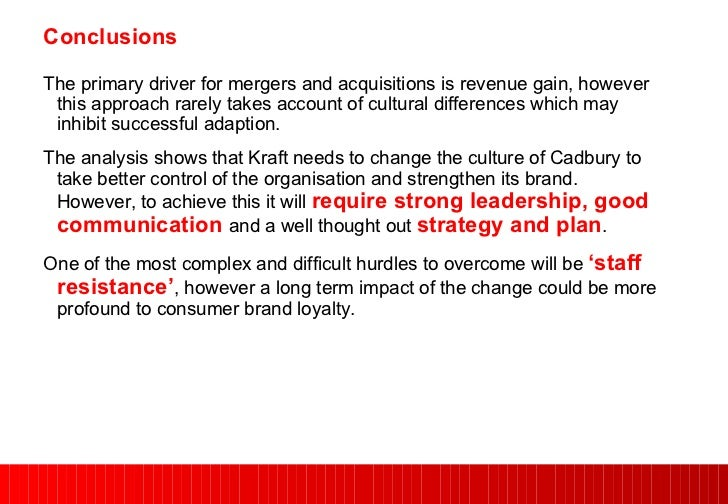 analysis of the kraft food cadbury merger Merger: kraft and cadbury issue: how do i enter the kraft acquisition of cadbury cause: kraft foods acquired cadbury for a combination of cash and kraft shares for tax purposes this merger is treated as a sale of cadbury and then a buy of kraft.