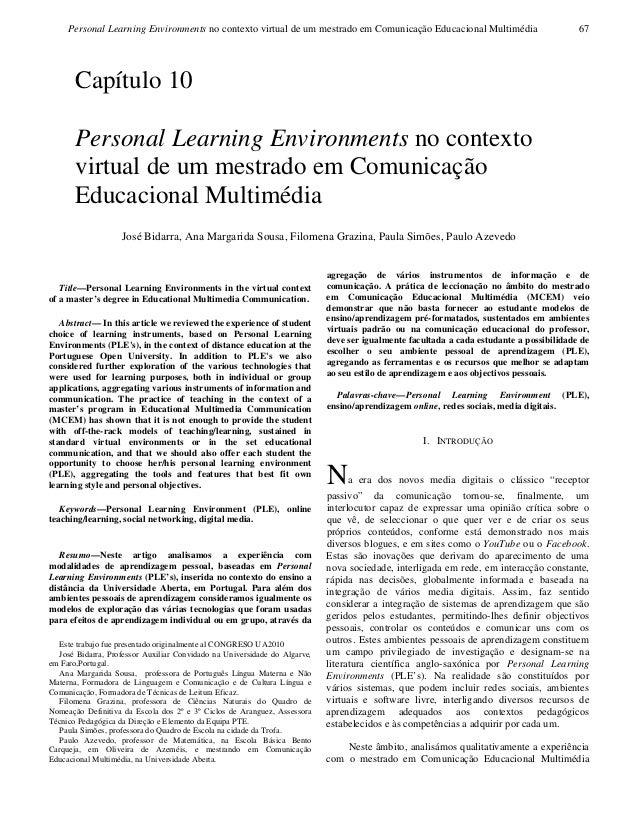 Personal Learning Environments no contexto virtual de um mestrado em Comunicação Educacional Multimédia 67Title—Personal L...