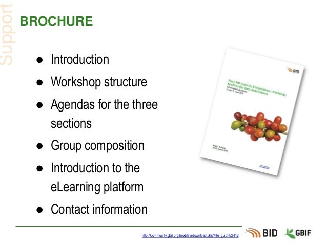 BROCHURE ● Introduction ● Workshop structure ● Agendas for the three sections ● Group composition ● Introduction to the eL...
