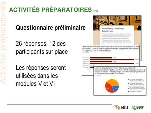 ACTIVITÉS PRÉPARATOIRES(1/2) Questionnaire préliminaire 26 réponses, 12 des participants sur place Les réponses seront uti...