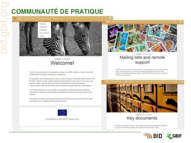 COMMUNAUTÉ DE PRATIQUE bid.gbif.org