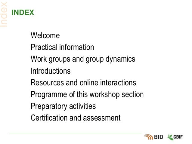 INDEX Welcome Practical information Work groups and group dynamics Introductions Resources and online interactions Program...