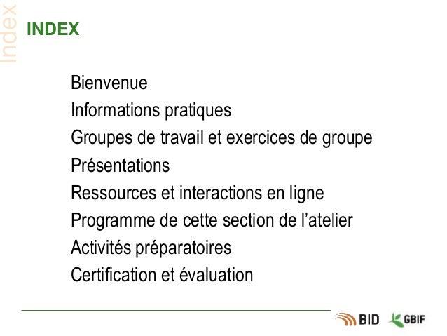 INDEX Bienvenue Informations pratiques Groupes de travail et exercices de groupe Présentations Ressources et interactions ...