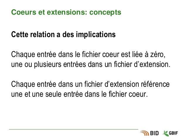 Coeurs et extensions: concepts Cette relation a des implications Chaque entrée dans le fichier coeur est liée à zéro, une ...