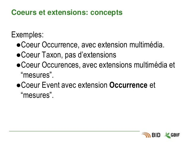 Coeurs et extensions: concepts Exemples: ●Coeur Occurrence, avec extension multimédia. ●Coeur Taxon, pas d'extensions ●Coe...