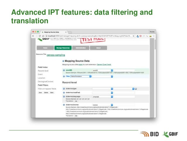 Advanced IPT features: data filtering and translation