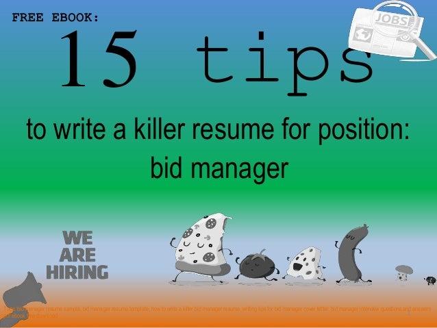 Bid manager resume sample pdf ebook
