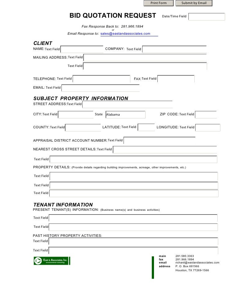 Bid Quotation Form