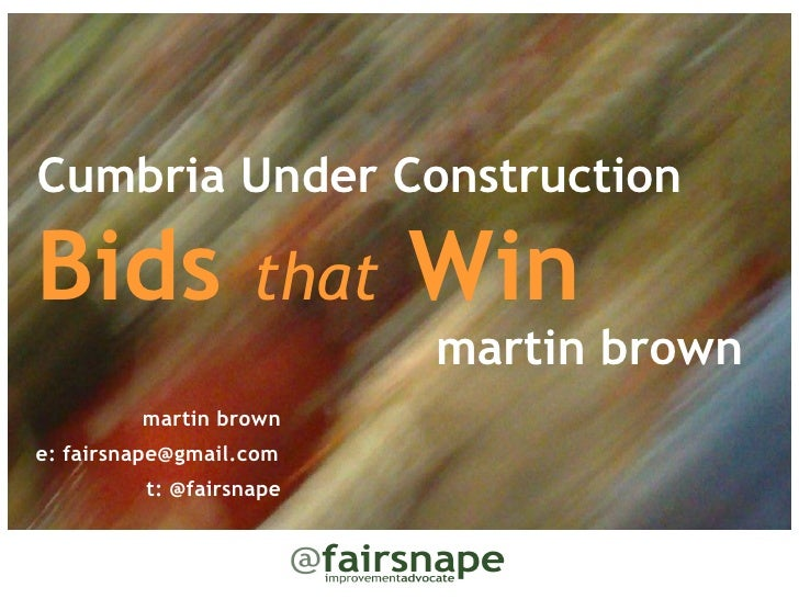 Cumbria Under ConstructionBids               that   Win                          martin brown         martin browne: fairs...