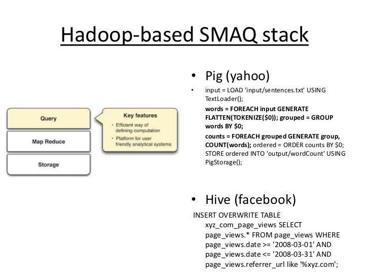 Hadoop-based SMAQ stack<br />Pig (yahoo)<br />input = LOAD 'input/sentences.txt' USING TextLoader(); <br />words = FOREAC...