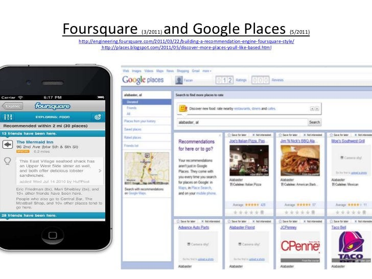 Foursquare (3/2011) and Google Places (5/2011)http://engineering.foursquare.com/2011/03/22/building-a-recommendation-engin...