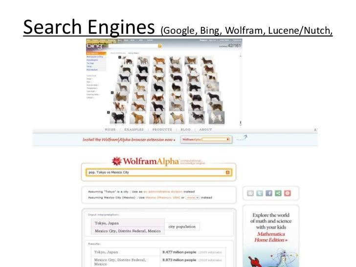 Search Engines (Google, Bing, Wolfram, Lucene/Nutch, etc)<br />