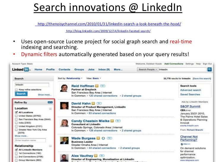 Search innovations @ LinkedInhttp://thenoisychannel.com/2010/01/31/linkedin-search-a-look-beneath-the-hood/http://blog.lin...
