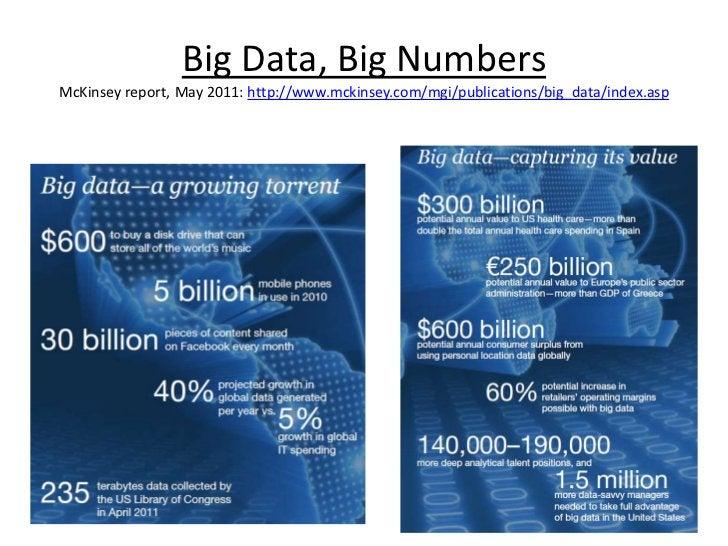 Big Data, Big Numbers  McKinsey report, May 2011: http://www.mckinsey.com/mgi/publications/big_data/index.asp<br />